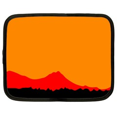 Sunset Orange Simple Minimalis Orange Montain Netbook Case (Large)