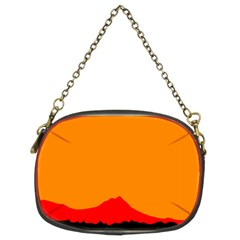 Sunset Orange Simple Minimalis Orange Montain Chain Purses (Two Sides)