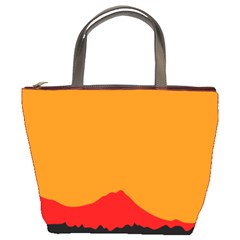 Sunset Orange Simple Minimalis Orange Montain Bucket Bags