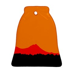 Sunset Orange Simple Minimalis Orange Montain Bell Ornament (Two Sides)