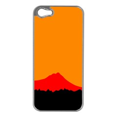 Sunset Orange Simple Minimalis Orange Montain Apple iPhone 5 Case (Silver)