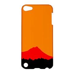 Sunset Orange Simple Minimalis Orange Montain Apple iPod Touch 5 Hardshell Case
