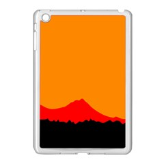 Sunset Orange Simple Minimalis Orange Montain Apple iPad Mini Case (White)