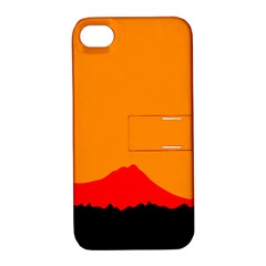 Sunset Orange Simple Minimalis Orange Montain Apple iPhone 4/4S Hardshell Case with Stand