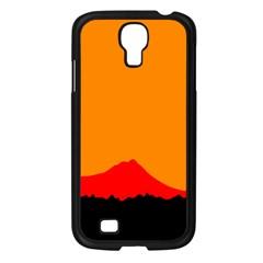 Sunset Orange Simple Minimalis Orange Montain Samsung Galaxy S4 I9500/ I9505 Case (Black)