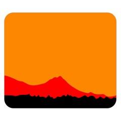 Sunset Orange Simple Minimalis Orange Montain Double Sided Flano Blanket (Small)