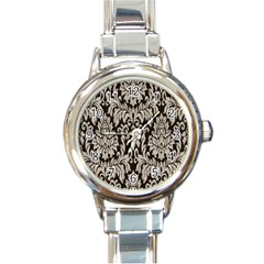 Wild Textures Damask Wall Cover Round Italian Charm Watch