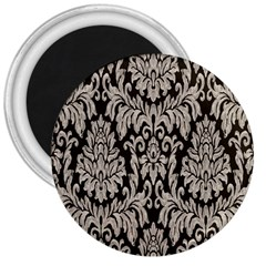 Wild Textures Damask Wall Cover 3  Magnets