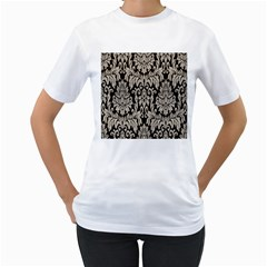 Wild Textures Damask Wall Cover Women s T-Shirt (White) (Two Sided)