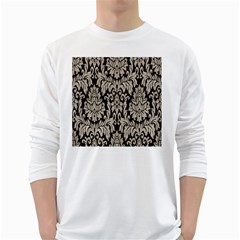 Wild Textures Damask Wall Cover White Long Sleeve T-Shirts