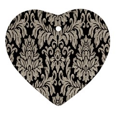 Wild Textures Damask Wall Cover Heart Ornament (Two Sides)
