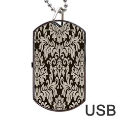 Wild Textures Damask Wall Cover Dog Tag USB Flash (One Side)