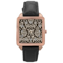 Wild Textures Damask Wall Cover Rose Gold Leather Watch