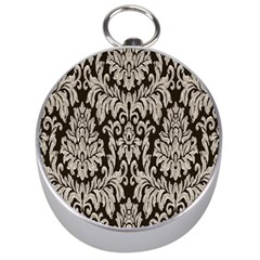 Wild Textures Damask Wall Cover Silver Compasses
