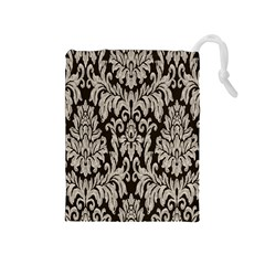 Wild Textures Damask Wall Cover Drawstring Pouches (Medium)