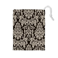 Wild Textures Damask Wall Cover Drawstring Pouches (Large)