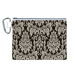 Wild Textures Damask Wall Cover Canvas Cosmetic Bag (L)