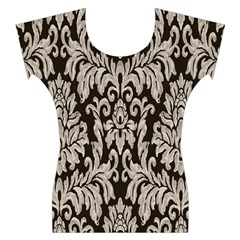 Wild Textures Damask Wall Cover Women s Cap Sleeve Top