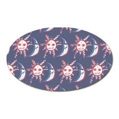 Sunmoon Blue Illustration Moon Orange Red Sun Oval Magnet