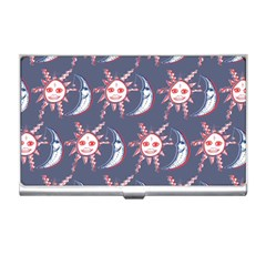 Sunmoon Blue Illustration Moon Orange Red Sun Business Card Holders