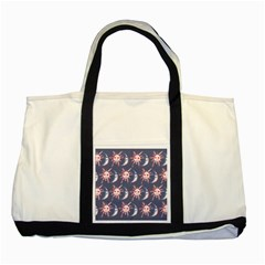Sunmoon Blue Illustration Moon Orange Red Sun Two Tone Tote Bag