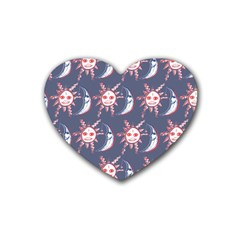 Sunmoon Blue Illustration Moon Orange Red Sun Rubber Coaster (Heart)