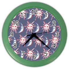 Sunmoon Blue Illustration Moon Orange Red Sun Color Wall Clocks