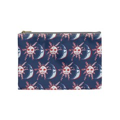 Sunmoon Blue Illustration Moon Orange Red Sun Cosmetic Bag (Medium)