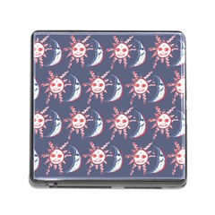 Sunmoon Blue Illustration Moon Orange Red Sun Memory Card Reader (Square)