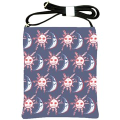 Sunmoon Blue Illustration Moon Orange Red Sun Shoulder Sling Bags