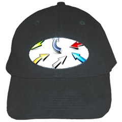 Three Dimensional Crystal Arrow Black Cap