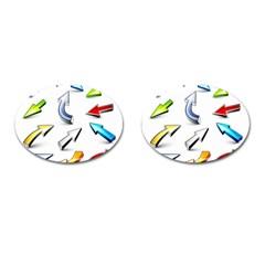 Three Dimensional Crystal Arrow Cufflinks (Oval)
