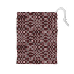 Simple Indian Design Wallpaper Batik Drawstring Pouches (Large)