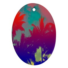 Tropical Coconut Tree Ornament (Oval)