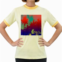 Tropical Coconut Tree Women s Fitted Ringer T Shirts
