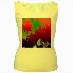 Tropical Coconut Tree Women s Yellow Tank Top