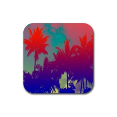Tropical Coconut Tree Rubber Square Coaster (4 pack)