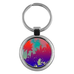 Tropical Coconut Tree Key Chains (Round)