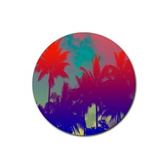 Tropical Coconut Tree Rubber Round Coaster (4 pack)