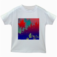 Tropical Coconut Tree Kids White T-Shirts