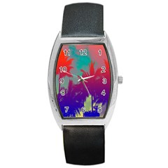 Tropical Coconut Tree Barrel Style Metal Watch