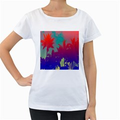 Tropical Coconut Tree Women s Loose-Fit T-Shirt (White)