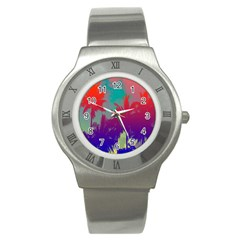 Tropical Coconut Tree Stainless Steel Watch