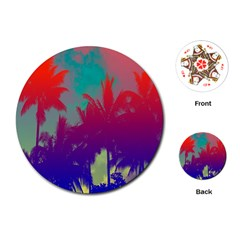 Tropical Coconut Tree Playing Cards (Round)