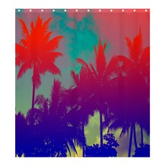 Tropical Coconut Tree Shower Curtain 66  x 72  (Large)