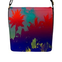 Tropical Coconut Tree Flap Messenger Bag (L)