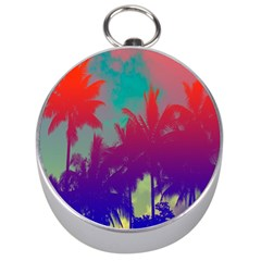 Tropical Coconut Tree Silver Compasses