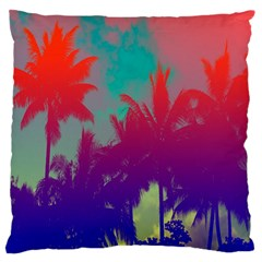 Tropical Coconut Tree Large Flano Cushion Case (One Side)