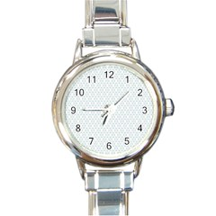 Web Grey Flower Pattern Round Italian Charm Watch