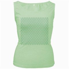 Web Grey Flower Pattern Women s Green Tank Top